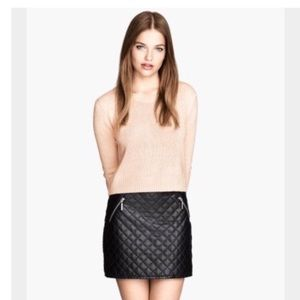 H&M Divided Faux Leather Quilted Mini Skirt